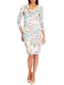 Floral print dress with cowl neck