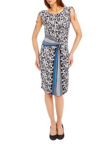 Graphic print knot effect dress