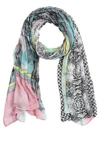 Long floral and graphic print scarf