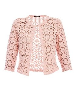 Soft floral lace jacket with fringe edge