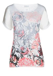 Floral T-shirt with contrast sleeves