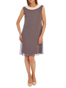 Chiffon A-line contrasting neck dress