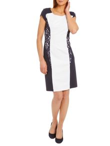 Panelled dress with cap sleeves