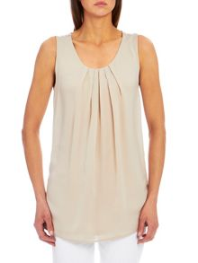 Sleeveless top with pleated neck