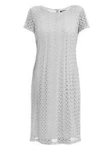 Short sleeve lace dress with metallic