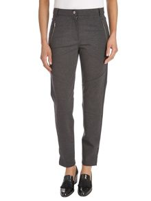 Stretch trousers with pleather trim
