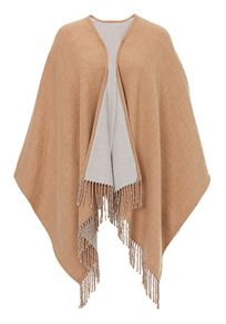 Fringed reversible poncho