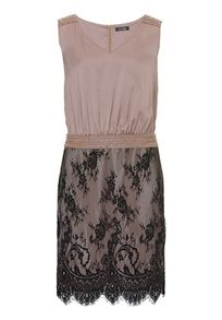 Dropped waist satin and lace dress