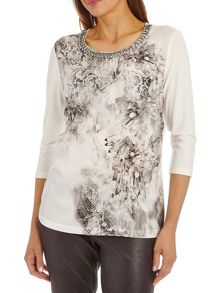 Print top with beaded neckline