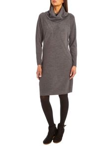 Knitted dress with cowl neck