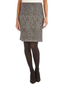Knit skirt with graphic design