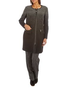 Boiled wool coat with zip