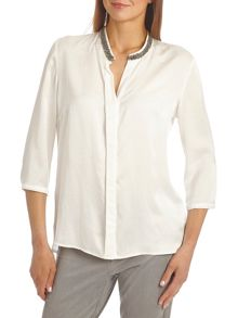 Satin blouse with bead trim