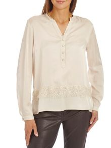 Satin blouse with lace trim