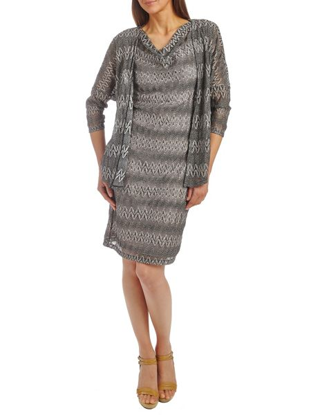 Vera Mont Cowl neck fine crochet dress