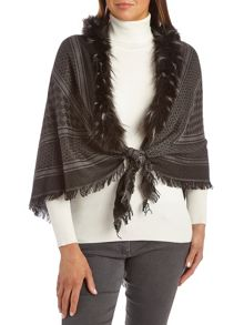 Betty Barclay Shawl with faux fur edging