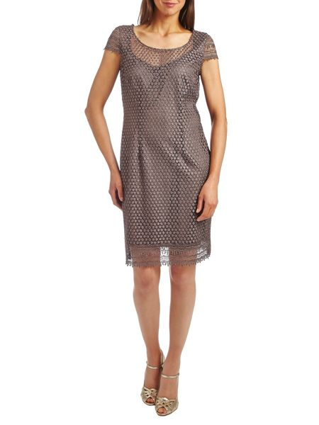 Vera Mont Scoop neck cap sleeved lace dress
