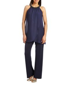 Chiffon and jersey jumpsuit