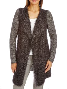 Hairy knit long cardigan