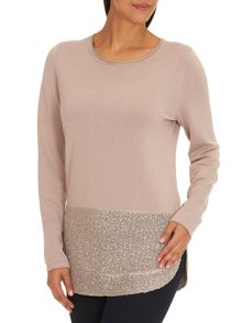 Fine knit tunic with sequined hem