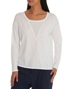 Long sleeved cotton T-shirt