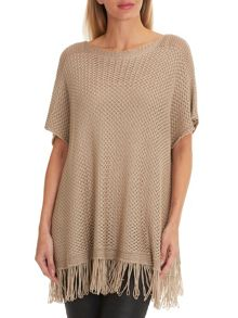 Betty Barclay Fringed crochet poncho