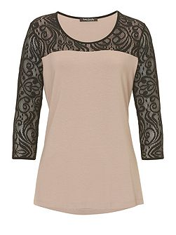 Jersey and lace top