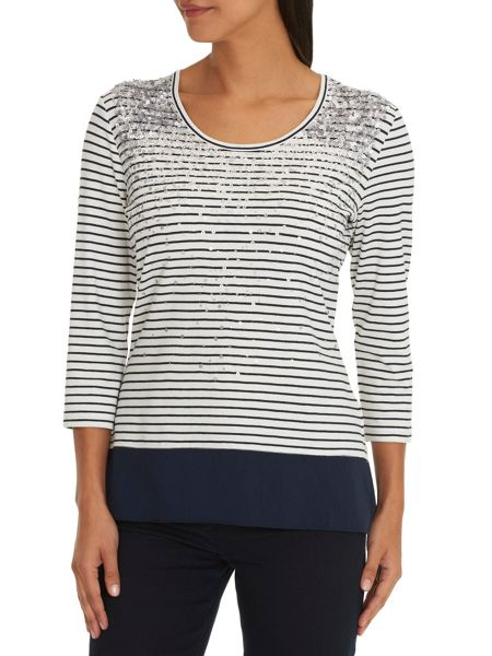 Betty Barclay Embellished striped top.