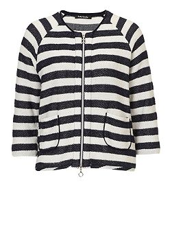 Striped cardigan with zip