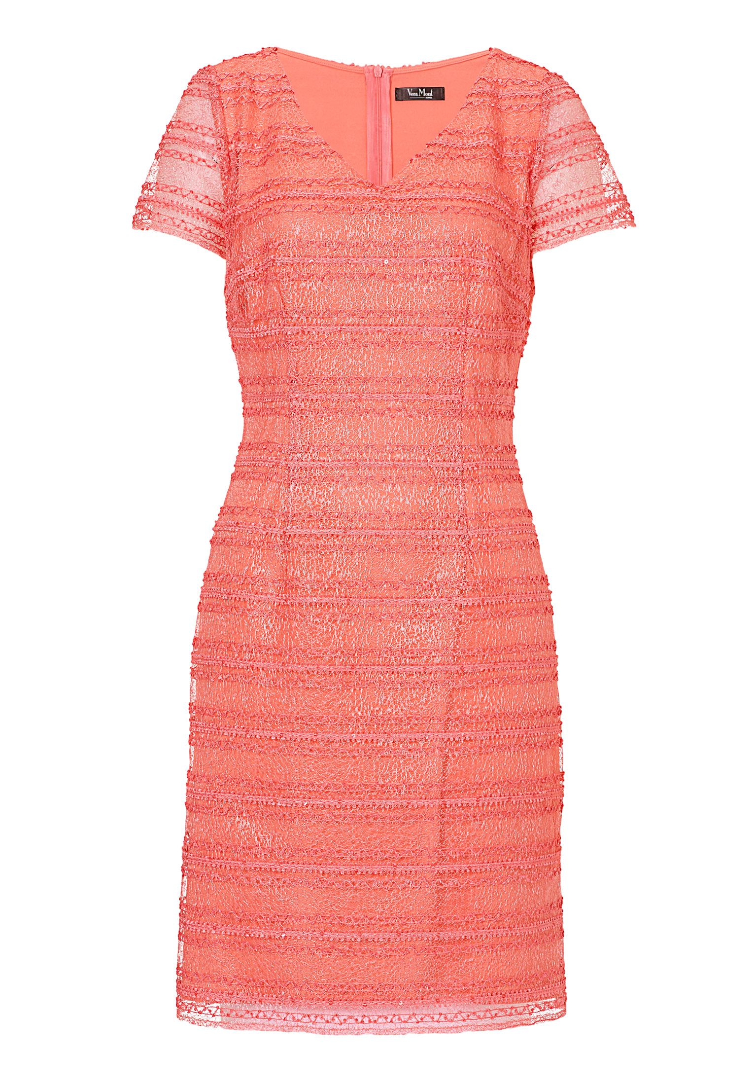 Vera Mont Stitched mesh dress, Orange