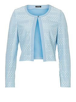 Long sleeved lace panelled jacket