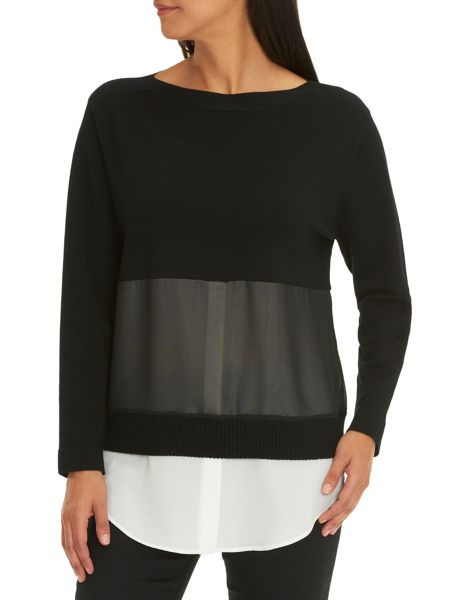 Betty Barclay Layered knit and chiffon top