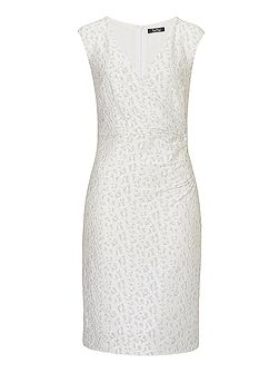 Stretch lace dress with false wrap
