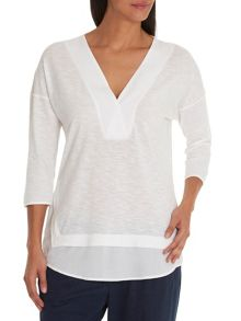 Betty & Co. V-neck top with layered hem