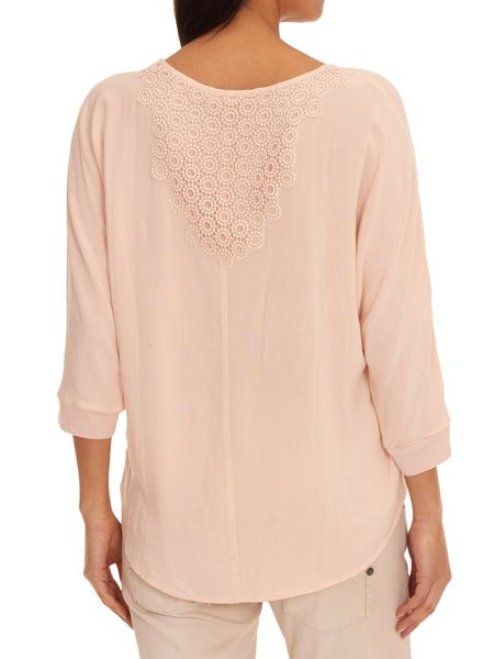 Betty & Co. Top With Crochet Back Panel