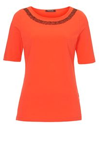 T-shirt with beaded neckline