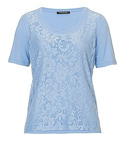 Lace panelled T-shirt