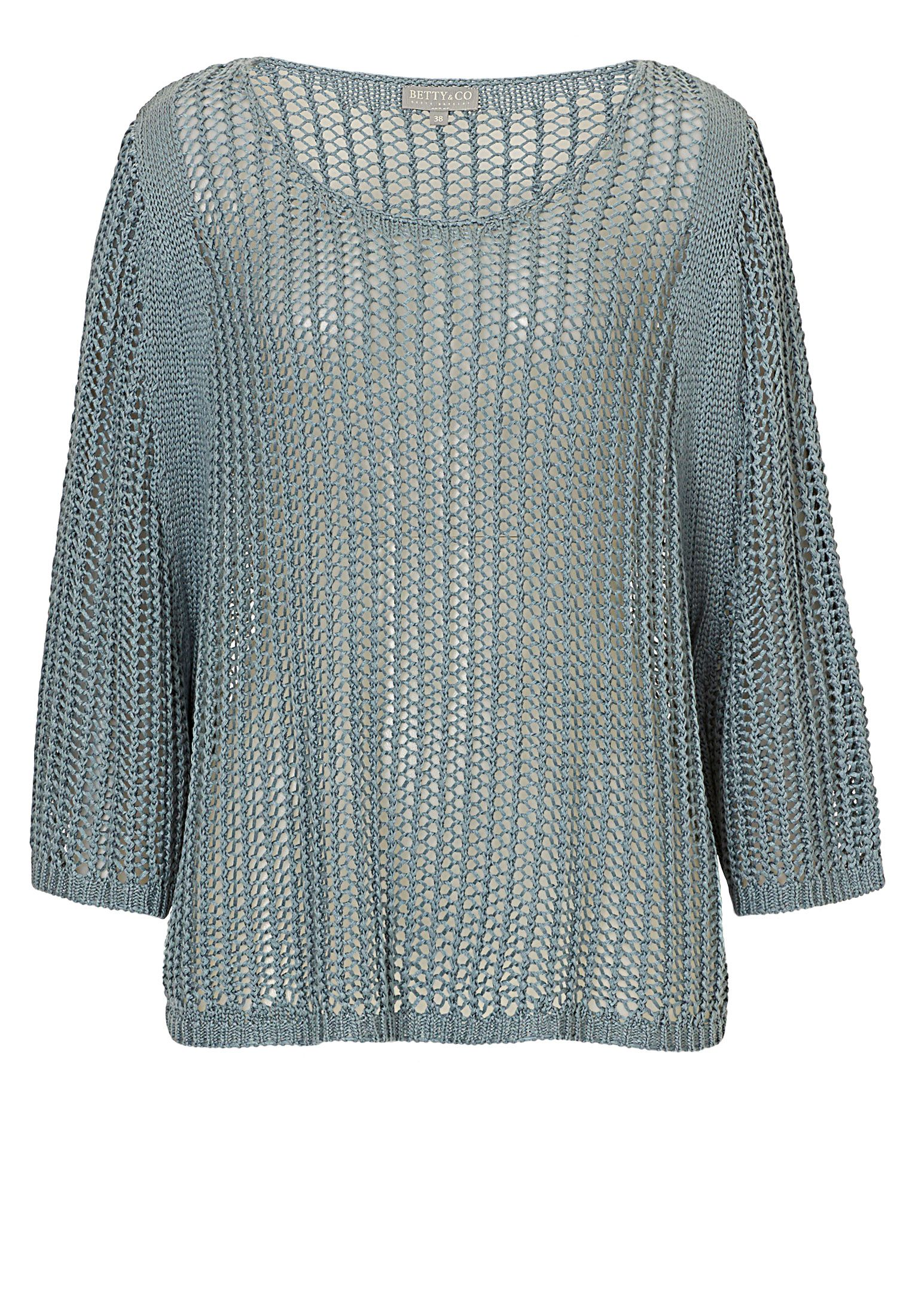 Betty & Co. Open Knit Poncho Top, Blue