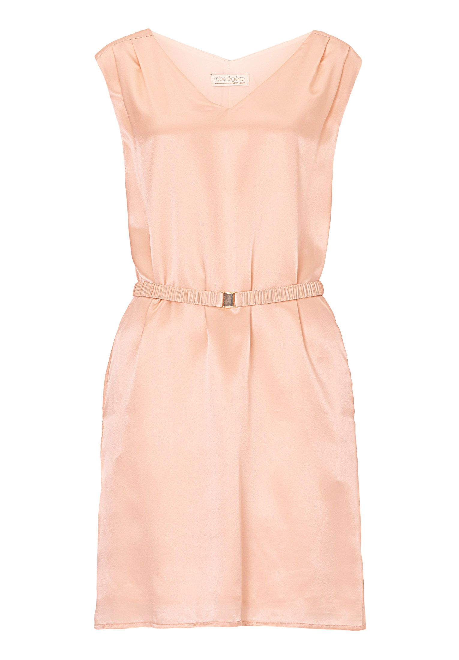 Vera Mont Belted V-neck shift dress, Pink