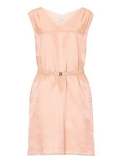 Belted V-neck shift dress