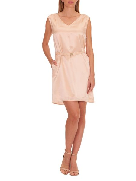 Vera Mont Belted V-neck shift dress