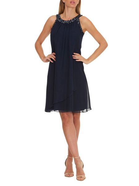 Vera Mont Dress with beaded neckline