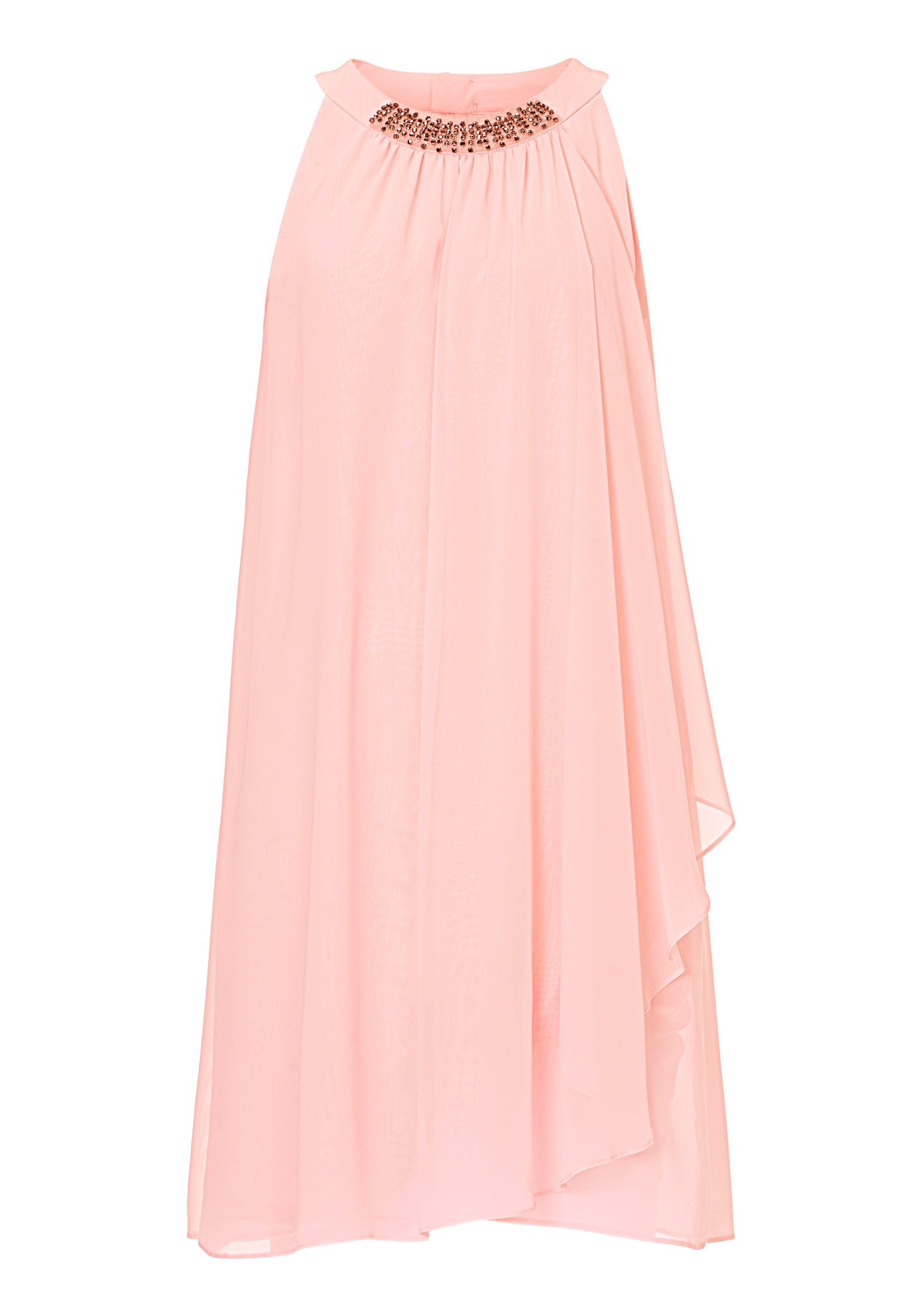 Vera Mont Georgette dress with diamanté neckline, Pink