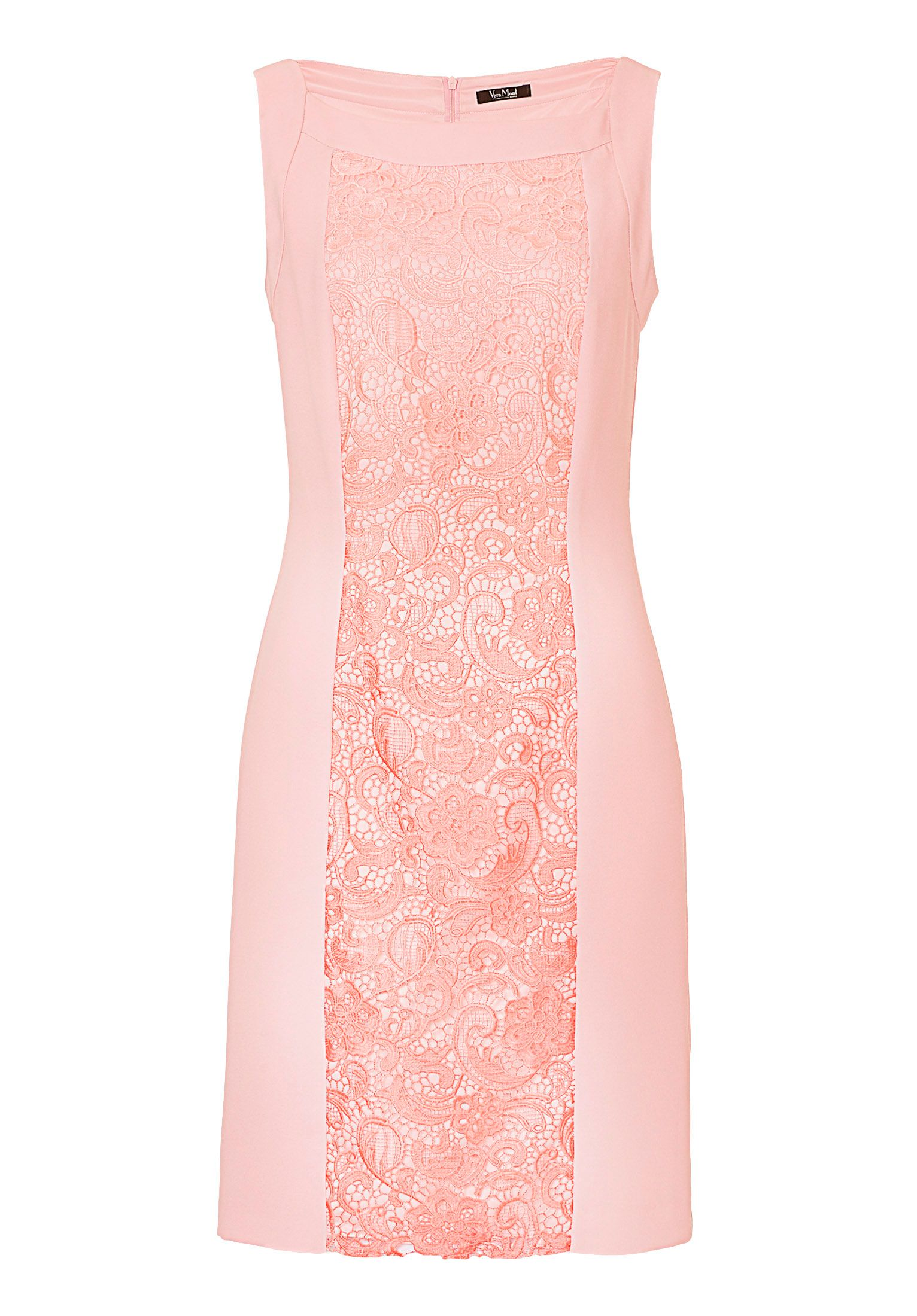 Vera Mont Crêpe and lace shift dress, Pink