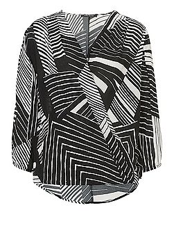 Graphic print wrapped blouse