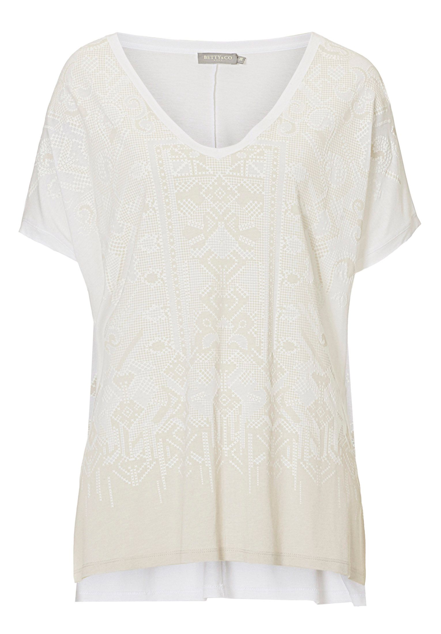 Betty & Co. V-neck transfer print top, White
