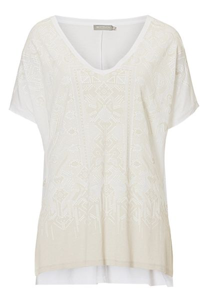 Betty & Co. V-neck transfer print top