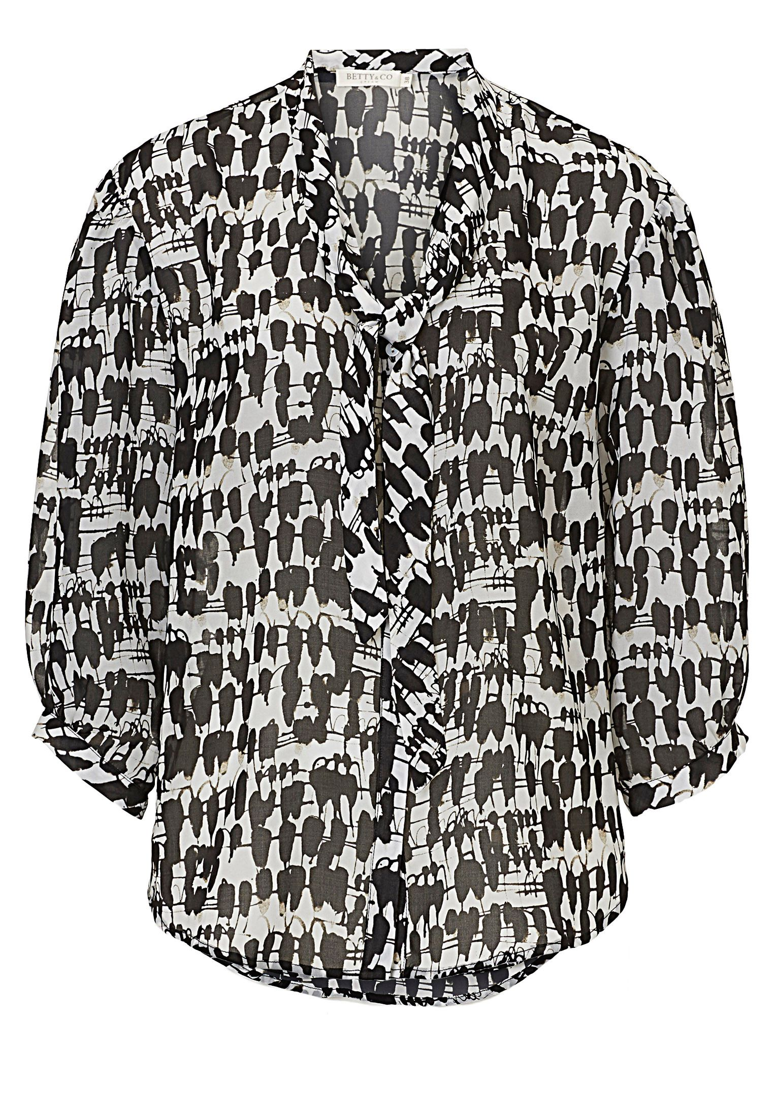 Betty & Co. Printed pussy bow blouse, Black