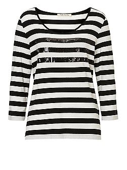 Striped top with sequins