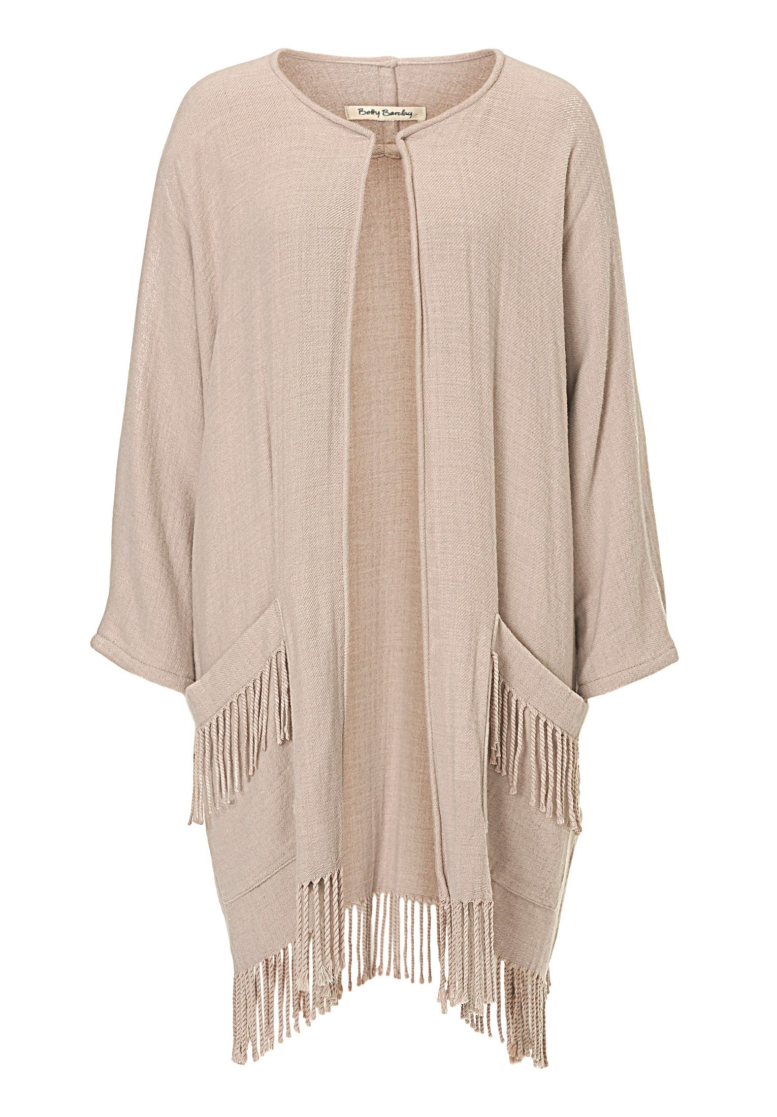 Betty Barclay Fringed blanket coat, White